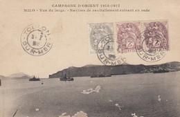 CARTE. CRETE N° 1, 2 ET 2 FONCÉ. CAMPAGNE D'ORIENT 1914-17. MILO. SALONIQUE LE 10 AOUT 18. CACHET DE TOULON - Crète (1902-1903)