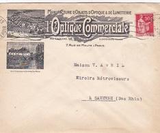 """FRANCE :  Type Paix 50c Sur Enveloppe """"Optique Commerciale """"  CaD De 1936 - 1921-1960: Modern Period"""