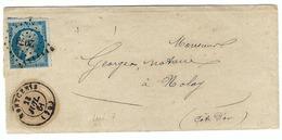 FRANCE 1860: LSC De Montcenis (Savoie) Du 23-7-61 Pour Nolay (Côte D'Or) Avec Le Y&T 14B Et Obl. PC 2073 (Ind.7) - 1853-1860 Napoleon III