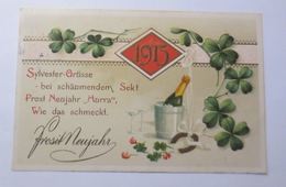 Neujahr, Jahreszahl, Sekt, Kleeblatt, Silvester,   1914, Prägekarte ♥ (66108) - Neujahr