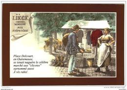 Série De 6 Cartes Postales Modernes - Liège - Les Marchés - Illustrations De Lejeune - 2 Scans - Marchés