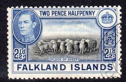 Falkland Islands GVI 1938-50 2½d Black & Bright Blue Definitive, Used, SG 151 - Falklandeilanden