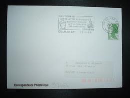 LETTRE TP LIBERTE 2,00 VERT ROULETTE OBL.MEC.29-11 1989 68 COLMAR RP HAUT-RHIN Mal DE LATTRE DE TASSIGNY - Marcophilie (Lettres)
