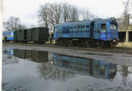 Diesel Locomotive No. TU2 098 Of Borsavalley Railway (UZ) At Station Vinogradiv In 2008  -  CPM - Trains