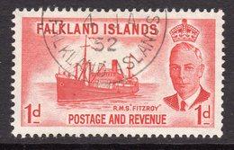 Falkland Islands GVI 1952 1d Scarlet RMS Fitzroy Definitive, Used, SG 173 - Falkland Islands