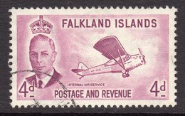 Falkland Islands GVI 1952 4d Reddish Purple Auster Aeroplane Definitive, Used, SG 177 - Falkland Islands