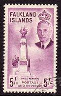 Falkland Islands GVI 1952 5/- Purple Battle Memorial Definitive, Used, SG 183 - Falkland Islands