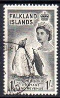 Falkland Islands 1955-7 1/- Black Gentoo Penguins Definitive, Used, SG 192 - Falklandeilanden