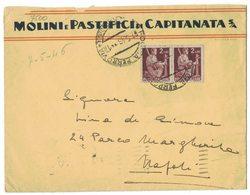 IZ332   Luogotenenza 1946 Coppia Democratica £.2 Su Busta Molini E Pastifici Di Capitanata Foggia Per Napoli - Marcophilia