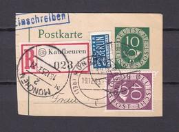 BRD - 1951/52 - Michel Nr. 128+133 - Ganzsache + US&Brit. Zone (Zwangszuschlagmarke) - Postkarte Ausschnitt Einschreiben - BRD