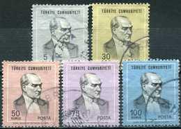Turkey 1970 - Mi. 2168-72 O, ATATÜRK Regular Issue Stamps - 1921-... République