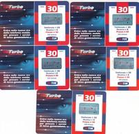 "LOTTO 28 DI N° 5 SCHEDE PREPAGATE & RICARICHE ""TIM TURBO EDGE UMTS"" TUTTE DIVERSE - [2] Sim Cards, Prepaid & Refills"