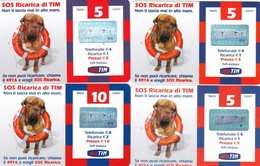 """LOTTO 29 DI N° 4 SCHEDE PREPAGATE & RICARICHE """"TIM SOS RICARICA"""" TUTTE DIVERSE - Italia"""