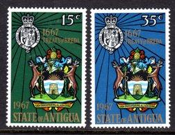 ANTIGUA - 1967 TREATY OF BREDA ANNIVERSARY SET (2V) FINE MNH ** SG 206-207 - 1960-1981 Ministerial Government