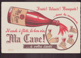 """Buvard """" Ma Cave """" Il Coule à Flots Le Bon Vin ( 21 X 13.5 Cm ) Rousseurs - A"""