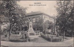 AK Gehren Schule Mit Kriegerdenkmal, Gelaufen 1921 - Gehren