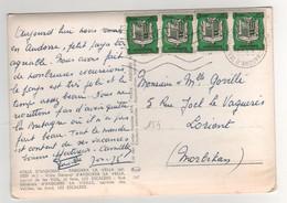 Beau Timbre , Stamp  Yvert N° 154 X4 Sur Cp , Carte , Postcard De 1963 - Andorra Francese