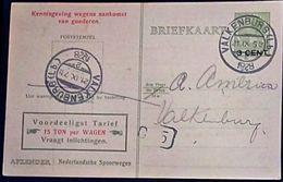 Netherlands 1929 Ned. Spoorw Kennisgeving Kaart Lebeau 3 C. Lokaal Bestel C.5, Valkenburg-2, 21.IX.1929 - 2002.2501 - 1891-1948 (Wilhelmine)
