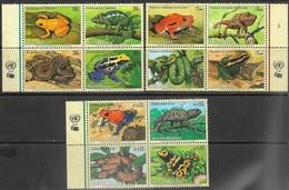 UN NY, Geneva, & Vienna  2006  Frogs Reptiles Endangered Species Blocks  MNH   2016 Scott Value $16.60 - Frogs
