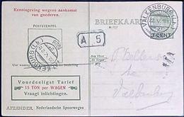 Netherlands 1929 Ned. Spoorw. Kennisgeving Kaart Veth 3 Op 5 C. Lokaal Valkenburg Bestel. A.5, 22 V.1929 - 2002.2502 - 1891-1948 (Wilhelmine)