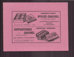 """Buvard """" Chaumel """" Ovules Et Suppositoires ( 14 X 10.5 Cm ) Pliures - Produits Pharmaceutiques"""