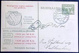 Netherlands 1929 Ned. Spoorw Kennisgeving Kaart Lebeau 3 C. Bestel B.3 Lokaal Valkenburg-2, 10.X 1929 - 2002.2503 - 1891-1948 (Wilhelmine)