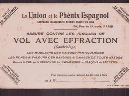 """Buvard """" La Union Et Le Phénix Espagnol """" Assurance  ( 22 X 14 Cm ) Pliures, Rousseurs - Banque & Assurance"""