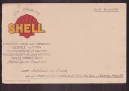 """Buvard """" Les Produits Shell """" Essence Pour Automobiles & Avions  ( 21 X 13.5 Cm ) Pliures, Rousseurs - Macchina"""