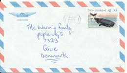 New Zealand Air Mail Cover Sent To Denmark Waikanae 24-11-1988 Single Franked - Poste Aérienne
