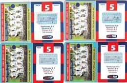 """LOTTO 43 DI N° 4 SCHEDE PREPAGATE & RICARICHE """"TIM CON GLI AZZURRI VERSO IL MONDIALE 2002"""" TUTTE DIVERSE - Italia"""