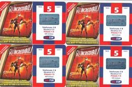 """LOTTO 47 DI N° 4 SCHEDE PREPAGATE & RICARICHE """"TIM GLI INCREDIBILI"""" TUTTE DIVERSE - GSM-Kaarten, Aanvulling & Voorafbetaald"""