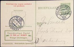 Netherlands 1929 Ned. Spoorw Kennisgeving Kaart Lebeau 3 C. Lokaal Bestel P.2 !! Valkenburg-2, 22 VII.1929 - 2002.2507 - 1891-1948 (Wilhelmine)