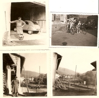 Lot De 4 Photographies Du Territoire De Belfort, Giromagny (90), 2 Cv, Vélo, Camion, Rue, Photos 1953-1957 - Orte