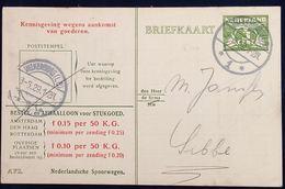 Netherlands 1929 Ned. Spoorw Kennisgeving Kaart Lebeau 3 C. Lokaal Valkenburg (LB) -1, 3.6.1929 - 2002.2510 - 1891-1948 (Wilhelmine)