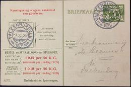 Netherlands 1929 Ned. Spoorw Kennisgeving Kaart Lebeau 3 C. Lokaal Valkenburg (LB)-2, 3.X.1929 - 2002.2511 - 1891-1948 (Wilhelmine)