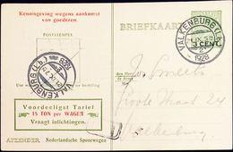 Netherlands 1929 Ned. Spoorw Kennisgeving Kaart Veth 3 Op 5c. Lokaal Valkenburg (Lb) -2, 5 III.1929 - 2002.2512 - 1891-1948 (Wilhelmine)