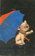 Illustrateur ?? - Chien Sous Un Parapluie - Bonne Année - Chiens