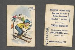 Calendrier 1958 Illustration De Germaine Bouret / Mercerie Cordier Chateau Thierry / En état Moyen Bien Lire Descriptif - Calendari