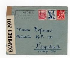 !!! ALGERIE, LETTRE D'ORAN DE 1944 POUR LE CONGO BELGE, AVEC CENSURE ANGLAISE - Storia Postale