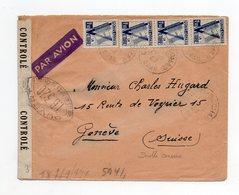 !!! ALGERIE, LETTRE PAR AVION D'ORAN DE 1943 AVEC DOUBLE CENSURE - Storia Postale