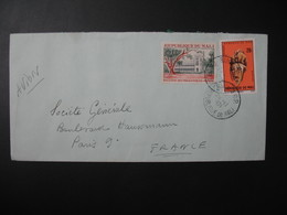 Lettre Thème Masque Et Ministère Des Travaux Publics Mali 1971 Pour La Sté Générale En France Bd Haussmann Paris - Mali (1959-...)