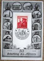 Sonderkarte 50. Geburstag Hitler Mittig Sondermarke Hitler Mit SST Nürnberg 1939 - Deutschland