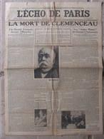 Journal L'écho De Paris (25 Nov 1929) La Mort De Clemenceau - Informations Générales