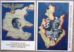 2 Ganzsachen 13.März 1938 Hitler + Wir Danken Unserem F.....  1937 Stempel Graz - Interi Postali