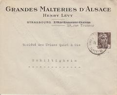 Env Affr Y&T 715 Obl STRASBOURG PL DE LA GARE Du 27.1.46 Adressée à Schiltigheim - Postmark Collection (Covers)