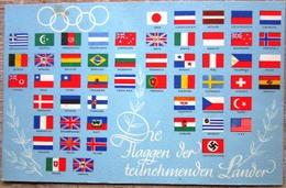 Farbige Olympiakarte 1936 Mit Den Flaggen Der Teilnehmenden Ländern Ungebraucht Vom Reichspostverlag - Non Classificati