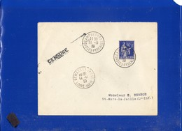##(DAN202)- FRANCE 1939 - Cover From Camp De Gurs To St-Mars-la-Jaille,stamp F Overprinted,  Censored-censure - France