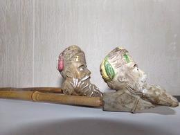 2 Pipes Ancienne Terre Cuite Emaillée JACOB Gambier Dont Une 998 - Pipes En Terre Et Porcelaine