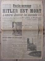 Journal Paris-Presse (3 Mai 1945) Hitler Est Mort - Elections De Paris - Journaux - Quotidiens