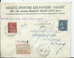 FRANCE - Lettre CHARGE Au Départ De PARIS - Entête PAPIERS ABADIE 1940 - Postmark Collection (Covers)